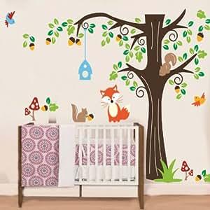 Amovible Grand Foret Animaux Oiseau Cage Arbre Mur Autocollant Art Decalques Enfant Pepiniere Chambre Maison Decor