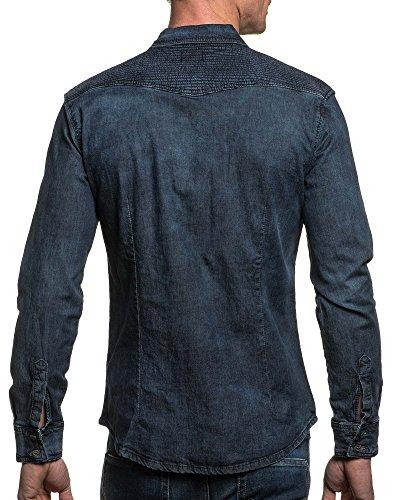 BLZ jeans - Chemise fashion en jean bleu pour homme Bleu