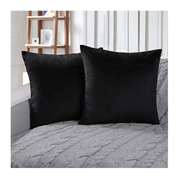 AEROHAVEN Velvet Reversible Decorative Throw Pillow/Cushion Covers with Invisible Zipper - 16 x 16 inch -