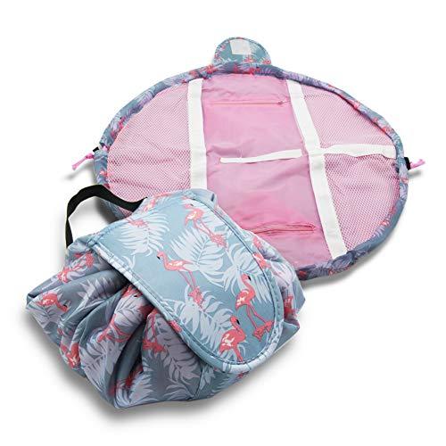 Portable Reißverschluss Make-up Tasche Lazy Kosmetische Aufbewahrungstasche Große Kapazität Reisetasche, Mode-Muster Design, Außen Wasserdicht, Quick Pack für Frauen (blue fl)