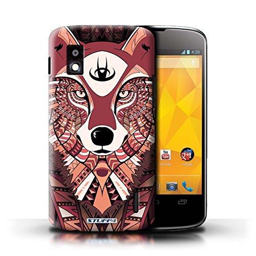 Kobalt® Imprimé Etui / Coque pour LG Nexus 4/E960 / Loup-Cramoisi conception / Série Motif Animaux Aztec Loup-Rouge