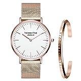 VICTORIA HYDE Damen Uhren Armbanduhr Set Mesh Armband Edelstahl Armreif Manschette Silber Rosagold (Weiss/rosagold+rosagold/S)