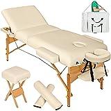 TecTake Table de massage cosmetique lit épaisseur de coussin 10cm + accessoires - diverses couleurs au choix - (Beige)