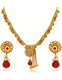 Jewels Galaxy Gold Plated Jewellery Set For Women (Multi-Colour)(NCKK-470)