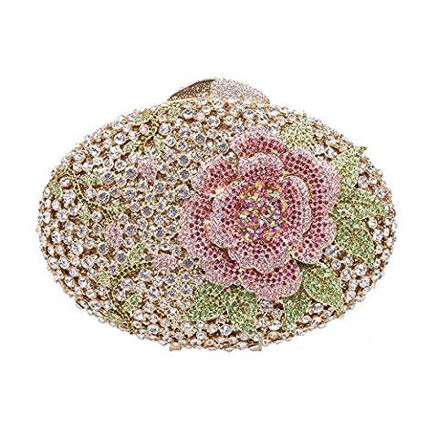Bonjanvye Glitter Flower Clutch Purses Rhinestones and Handbags for Girls Multicolor