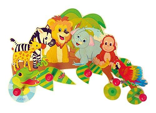 Hess 30305Percha de madera, diseño de animales de la selva