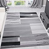 VIMODA Wohnzimmer Teppich Kariert Gestreift in Grau Dicht Gewebt Pflegeleicht Geprüft auf Schadstoffe Fußbodenheizung Geeignet 120x170 cm