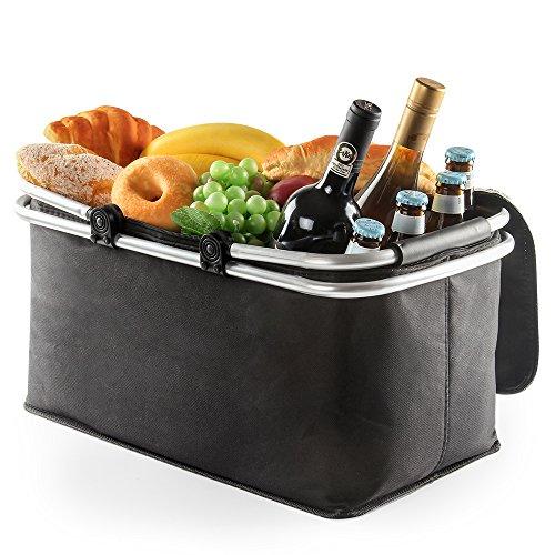 BalladHome Faltbare Kühlkorb Picknickkorb Picnic Kühltasche Picknicktasche Zusammenklappbare Kühltasche Korb für Arbeitung Party BBQs und Outdoor Picknick- (02-Schwarz)