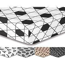 decoking Premium 93375sábana bajera 200x 220cm Puente 30cm blanco y negro diseño geométrico sábana bajera de cama de microfibras gaardi Black White HYPNOSIS Collection Harmony 1