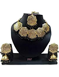 Apsara Art Jewellery Gold Plated Kundan Black Pearl Traditional Necklace Set For Women Party Wear Wedding Wear...