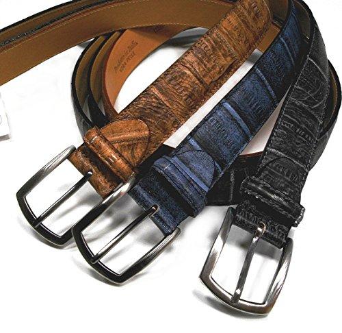 Valpel visconti cintura in vera pelle di anguilla. lavorazione classica fatta a mano alta cm 3,5. made in italy