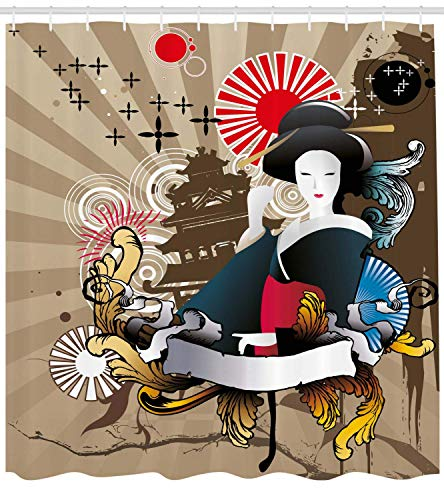 Curtain, Japanese Art with Traditional Geisha Woman Asian Style Cultural Graphic Art Print, Fabric Bathroom Decor Set with Hooks, 66x72 inches Extra Wide, Multicolor ()