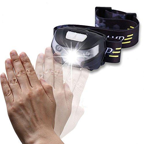 Magicmoon Lampada da Testa sensore di movimento Lampada frontale di controllo, mani libere ricaricabile Sport faro della torcia elettrica, luce del LED per la corsa, campeggio, la lettura, pesca, caccia, passeggiate, jogging,