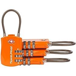 Candados para Equipajes Aprobados por el TSA – Candados de Cable con Combinación de 3 Marcaciones para Equipajes – Paquete de 4 Candados Anaranjados