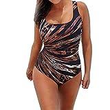 Ba Zha Hei Damen Bikini Frau Sexy Siamese Bunt Strahlung Leck zurück Hängende Schulter Bademode Klassisch Push Up große Größe Bikini set Drucken Bunt Bandeau Badeanzug (XXL, Mehrfarbig B)