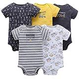 Baby Jungen Kurzarm-Body im 5er Pack Baumwolle Spieler Strampler Schlafanzug Sommer Babybody Spielanzug Auto 6-9 Monate