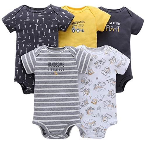 Baby Jungen Kurzarm-Body im 5er Pack Baumwolle Spieler Strampler Schlafanzug Sommer Babybody Spielanzug Auto 12-18 Monate