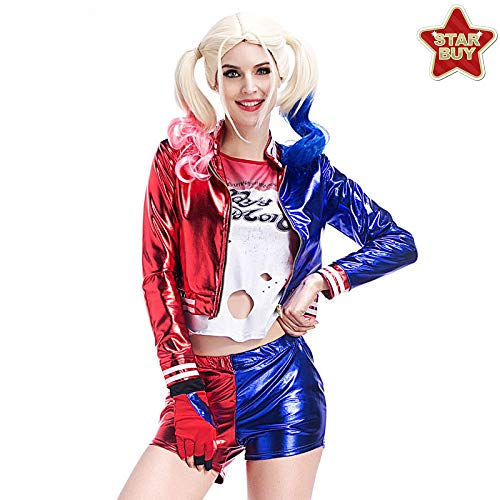 Kostüm Harley Quinn Krankenschwester - COSOER Selbstmordkommando Clownin Anzug BerufungsuniformHalloween Harley Quinn Cosplay Kostüm,Ms-S