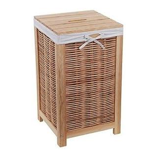 NEG Wäschetruhe ARMADIO (naturbraun) Wäschekorb aus Echtholz mit Korbgeflecht und Baumwoll-Einlage