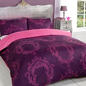 Coco aubergine baroque rose violet doux réversible roi taille housse de couette parure de lit