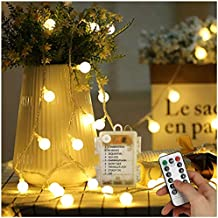GEEDIAR cadena luminosa batería con fotos Pinzas, 5 m 50 LED cálida cadena de luces