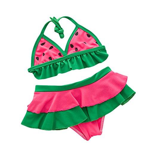 LOSORN ZPY Kinder Baby Mädchen Badeanzug 2tlg Neckholder Schwimmanzug Bademode Wassermelone Bikini Set (2-4Jahre Alt, (Kleinkind Wassermelone Kostüm)