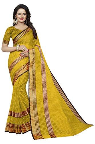 Manorath Women's Silk & Georgette Border Saree With Blouse Piece (Yellow)