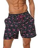 JameStyle26 Herren Badeshorts Flamingo Motiv Badehose mit Innenslip Mesh schnelltrocknend Beachvolleyball-Shorts Strandhose Beachsport Schwimmhose Fast Dry (L)