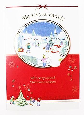 Weihnachten für Nichte und ihre Familie Traditionelle Qualität Grußkarte Vers Karte