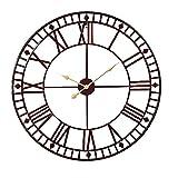 Anaelle Pandamoto 80 x 80cm Horloge Pendule Murale en Métal Silencieuse Classique pour Salon, Salle du Bain,Cuisine et Bureau