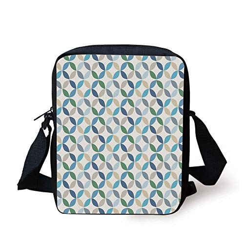 or,Pastel Effects Oval Point Old Linked Stripes Contrast New Band,Light Blue Green Print Kids Crossbody Messenger Bag Purse ()