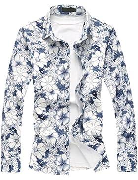 Zhhlaixing Camisa de primavera de los hombres Men's Spring Long Sleeve Floral Swimming Holiday Shirt Halloween...
