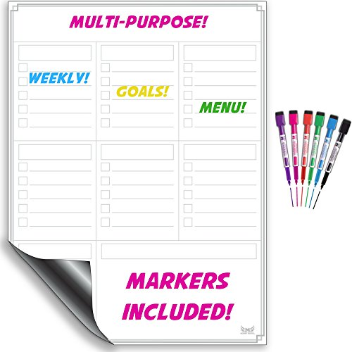 Magnetisches Whiteboard für Kühlschrank - Mehrzweck-Wochenplaner mit Marker, Menüplaner, Memoboard, Magnettafel – organisatorische Harmonie für Ihr Zuhause