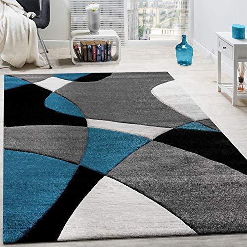 Paco home tappeto di design moderno motivo geometrico taglio sagomato turchese grigio nero, dimensione:120x170 cm