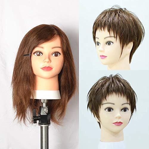 Charming Tête de femme à coiffer pour apprentissage de la coiffure avec vis de serrage 100% cheveux humains Brun foncé n°4 45,7 cm