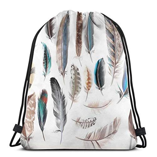 Jiger Drawstring Tote Bag Gym Bags Storage Backpack, Western Feather Setting Pigmented Bird Body Parts Growth Nature Art Design,Very Strong Premium Quality Gym Bag for Adults & Children (Tote Western Pack)
