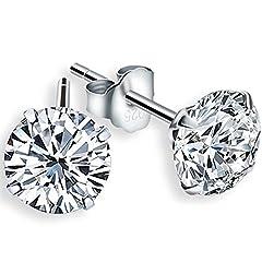 Idea Regalo - LDUDU® 2(un paio)x Orecchini d'Argento 925 con Cristallo Bianco, Regalo di Natale e San Valentino-Unisex/Colore: Argento