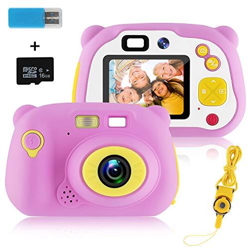 MOREASE Appareil Photo Enfant,HD 1500 mégapixels/1080P Caméra Enfant Numérique Selfie Machine Photographique,Ecran LCD de 2 Pouces, avec Carte TF 16 Go et Lanière (Rose)