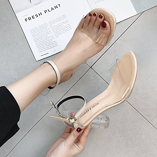 Donyyyy Bracelet fermoir haut talon chaussures sandales femme transparent