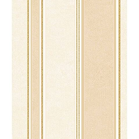 Coloroll Feather Striped Blown Vinyl Wallpaper in Gold M0918 Full Roll