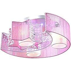 Modern Design LED Rosa Deckenlampe 3-flammig Deskenleuchte Stoff Metall Romantik Jungen und Mädchen Mond sterne Fernbedienung Schlafzimmer Wohnzimmer Küche Kinderzimmer Princesszimmer Decken-leuchte Ø46*20cm E27*3