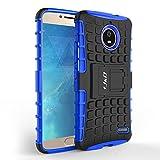 Coque Moto E4, J&D [Béquille] [Couche Double] Coque de Protection Antichoc Hybride pour Motorola Moto E4 - Bleu