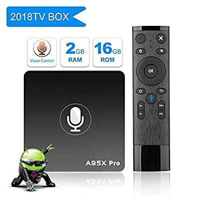 A95X PRO Android 7.1.2 TV BOX with a Voice Remote, 2GB DDR3/16GB ROM Quad-core support 3D/4K/2.4GHz WiFi/H.265/HDMI 2.0