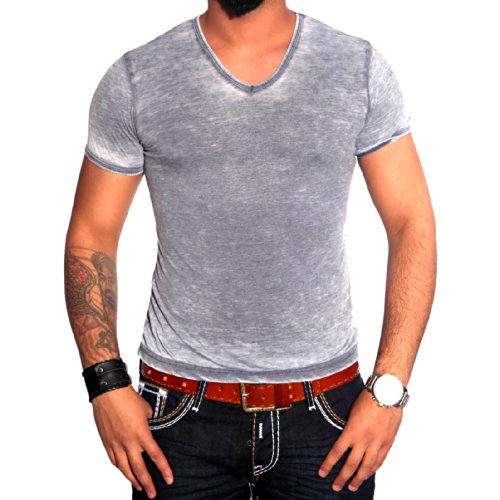 R-NEAL Clubwear Kurzarm Herren V-Neck T-Shirt Washed Optik Shirt RTN-16624 NEU Blau