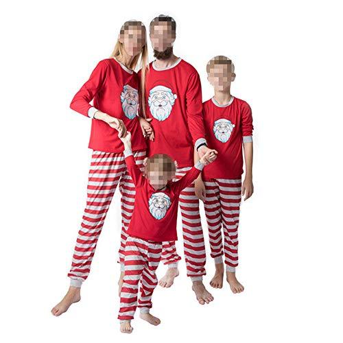 TLLW passender Weihnachtspyjama für die Familie, Weihnachten, lässiger Schlafanzug, Sportkleidung, 2-teilig, für Herren und Damen Gr. Mama M, Mutter Rot