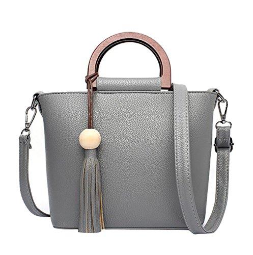 WanYang Donna Borsa Handbag A Spalla Righe In PU Cuoio Cerniera Design Handbag Shoulder Bag Tote Bag Grigio