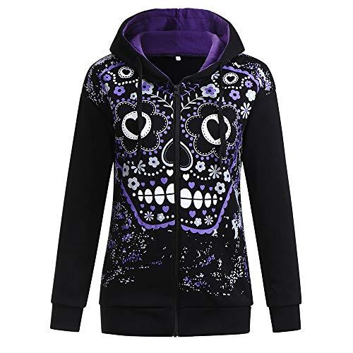 Damen Pullover Sexy Dasongff Gedruckt Hoodie Halloween Kostüm Langarmshirt 3D Druck Schädel Hoody Frauen V-Ausschnitt Kapuzenpullover Sweatjacke