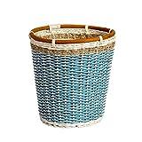 LYL mülltonnen Kreative Pastoralen Rattan Mülleimer, Office Home Wohnzimmer Schlafzimmer Küche aufgedeckt Mülleimer (Color : Blue, Größe : 27 * 20 * 28cm)