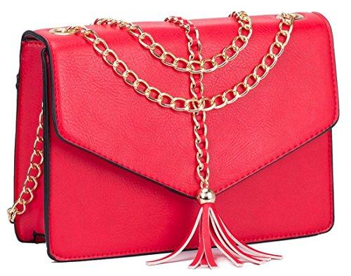 Kukubird Lucy Catena Nappa Design Borsa A Tracolla Con Sacchetto Raccoglipolvere Kukubird Red