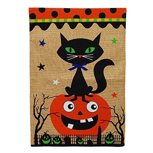 movqweenry, Gruselige Katze, Halloween, Herbst, Jack o Laterne, Kürbis, Jute, 31,8 x 45,7 cm ()